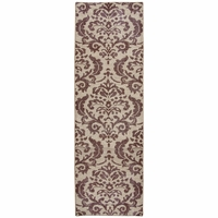 """Maison Faded Damask Wool Runner Rug In Burgundy & Brown, 2'6"""" x 8'"""