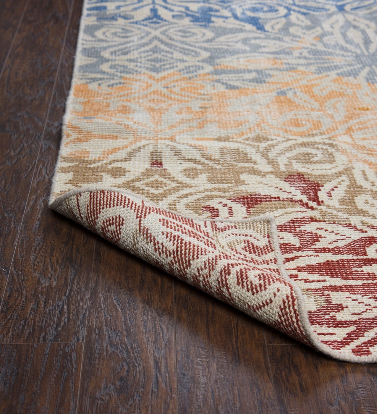 maison faded floral wool area rug in red tan green blue orange 8 39 x 10 39. Black Bedroom Furniture Sets. Home Design Ideas