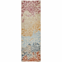 """Maison Faded Floral Wool Runner Rug In Red Tan Green Blue Orange, 2'6"""" x 8'"""