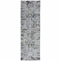 """Maison Faded Ornamental Wool Runner Rug In Grey & Ivory, 2'6"""" x 8'"""