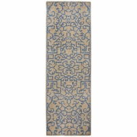 """Maison Faded Ornate Pattern Wool Runner Rug In Brown & Blue, 2'6"""" x 8'"""