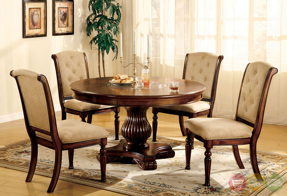 Majesta I Elegant Dark Walnut Casual Dining Set With Built In Marble Lazy Susan Cm3560