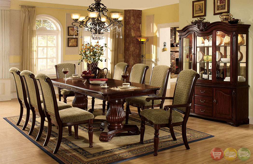 Majesta ii elegant dark cherry formal dining set with for Cherry dining room set