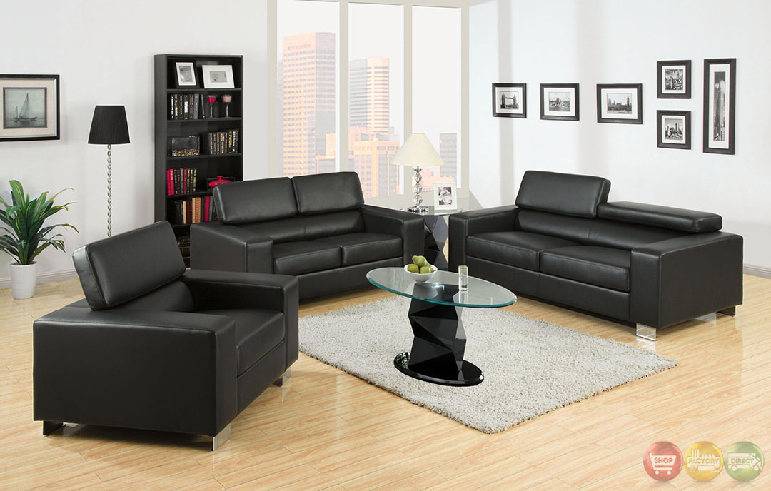 makri contemporary black living room set with bonded leather match cm6336bk. Black Bedroom Furniture Sets. Home Design Ideas