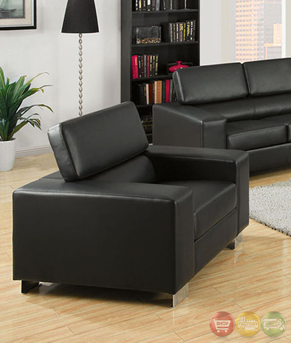 Makri contemporary black living room set with bonded for Matching living room sets