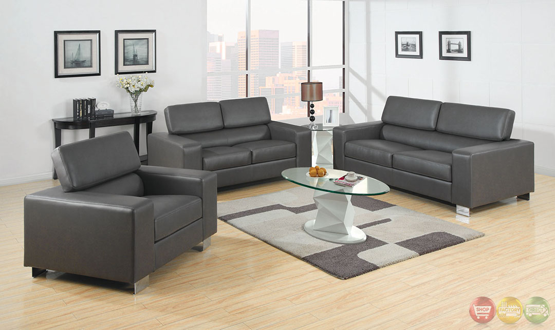 Gray leather living room set for Matching living room sets
