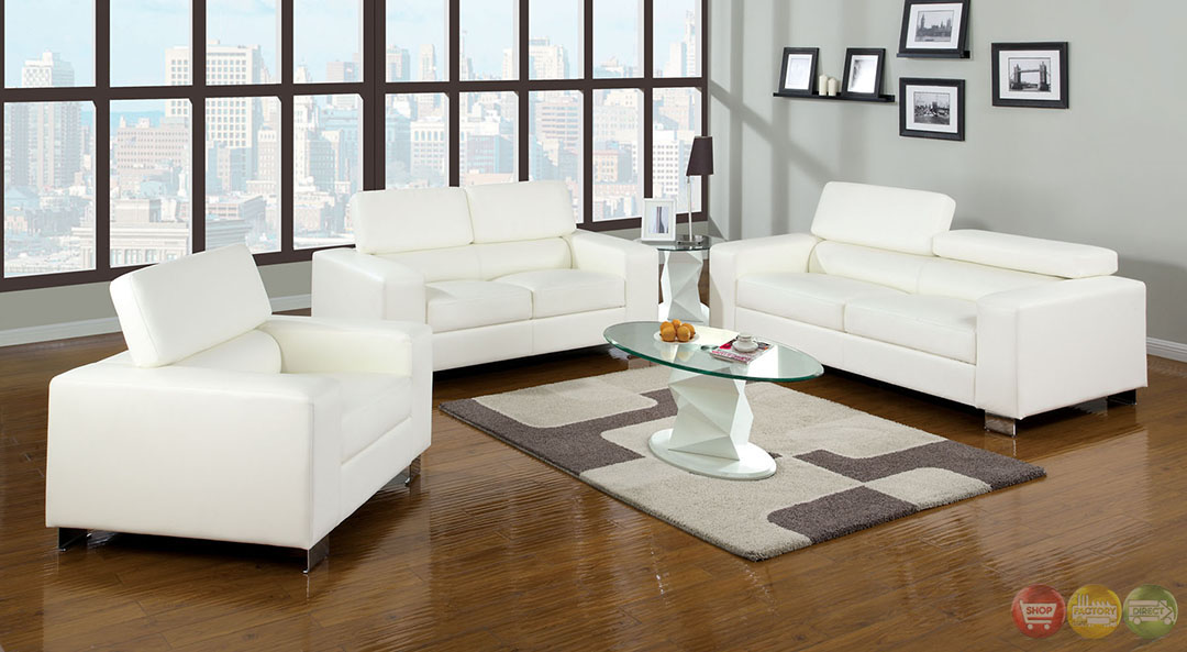 Makri contemporary white living room set with bonded for Contemporary living room sets