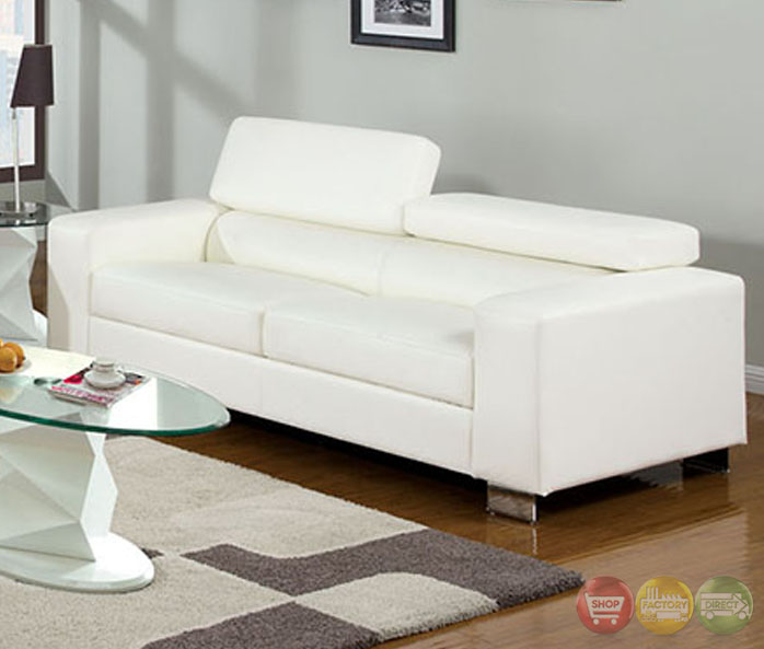 Makri Contemporary White Living Room Set With Bonded