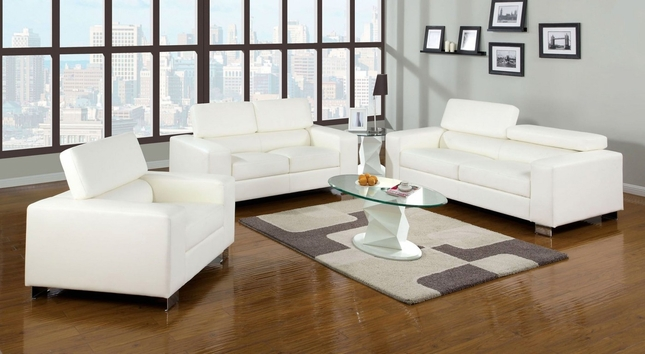 Makri Contemporary White Living Room Set with Bonded Leather Match