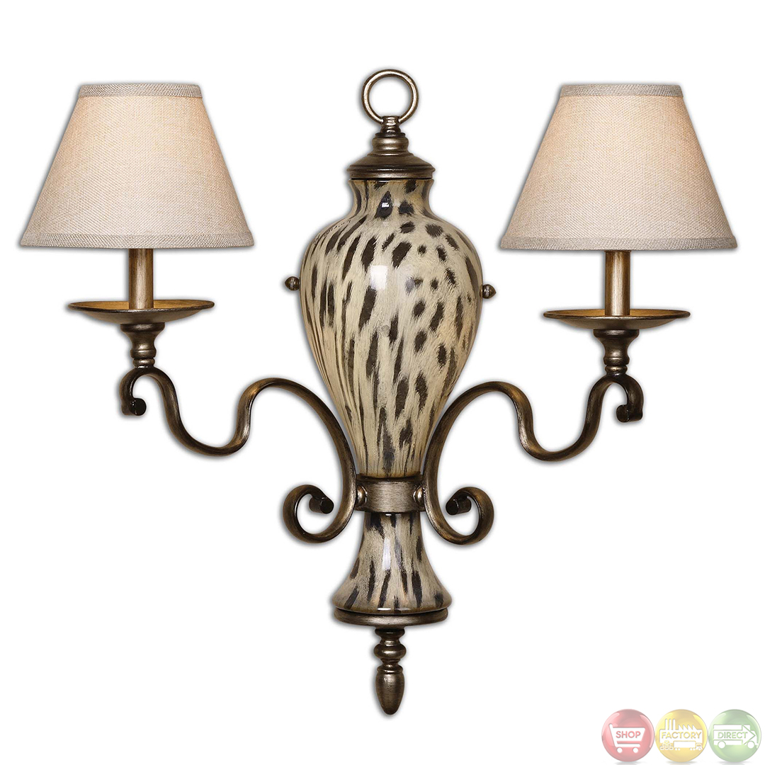 Wall Sconces Light Up And Down : Malawi Traditional 2 Light Wall Sconce 22489