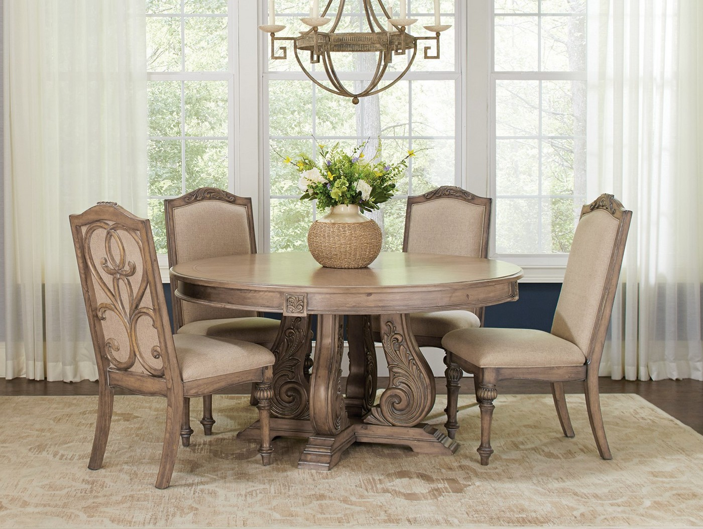 "Malvern 5-pc Traditional 60"" Round Dining Table Set ..."