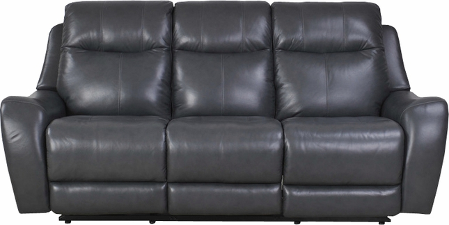 Mammoth Denim Transitional Power Dual Reclining Leather Sofa With
