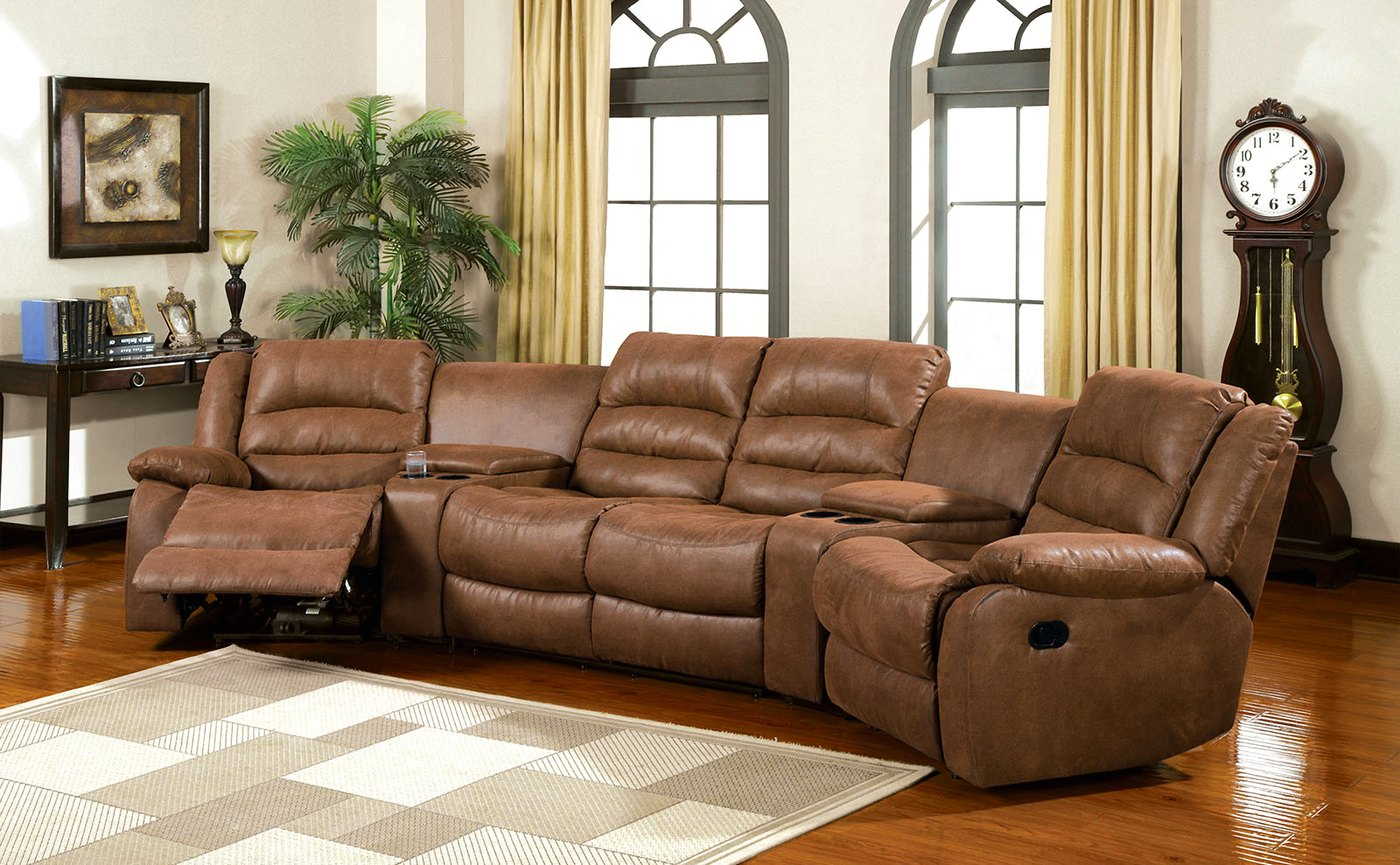 Manchester Caramel Faux Leather Sectional Sofa Set, Cup