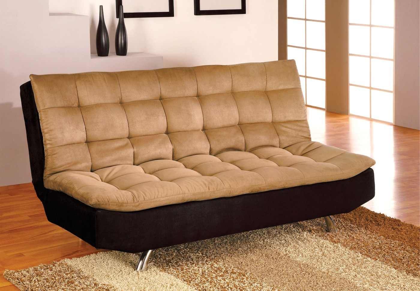 Awe Inspiring Details About New Balham Contemporary Tan And Black Futon Sofabed With Microfiber Seat Brown Spiritservingveterans Wood Chair Design Ideas Spiritservingveteransorg