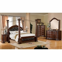 Mandalay Luxurious Baroque Brown Cherry Poster Canopy Bedroom Set