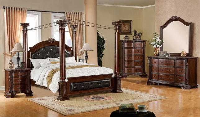 Attirant Mandalay Luxurious Baroque Brown Cherry Poster Canopy Bedroom Set