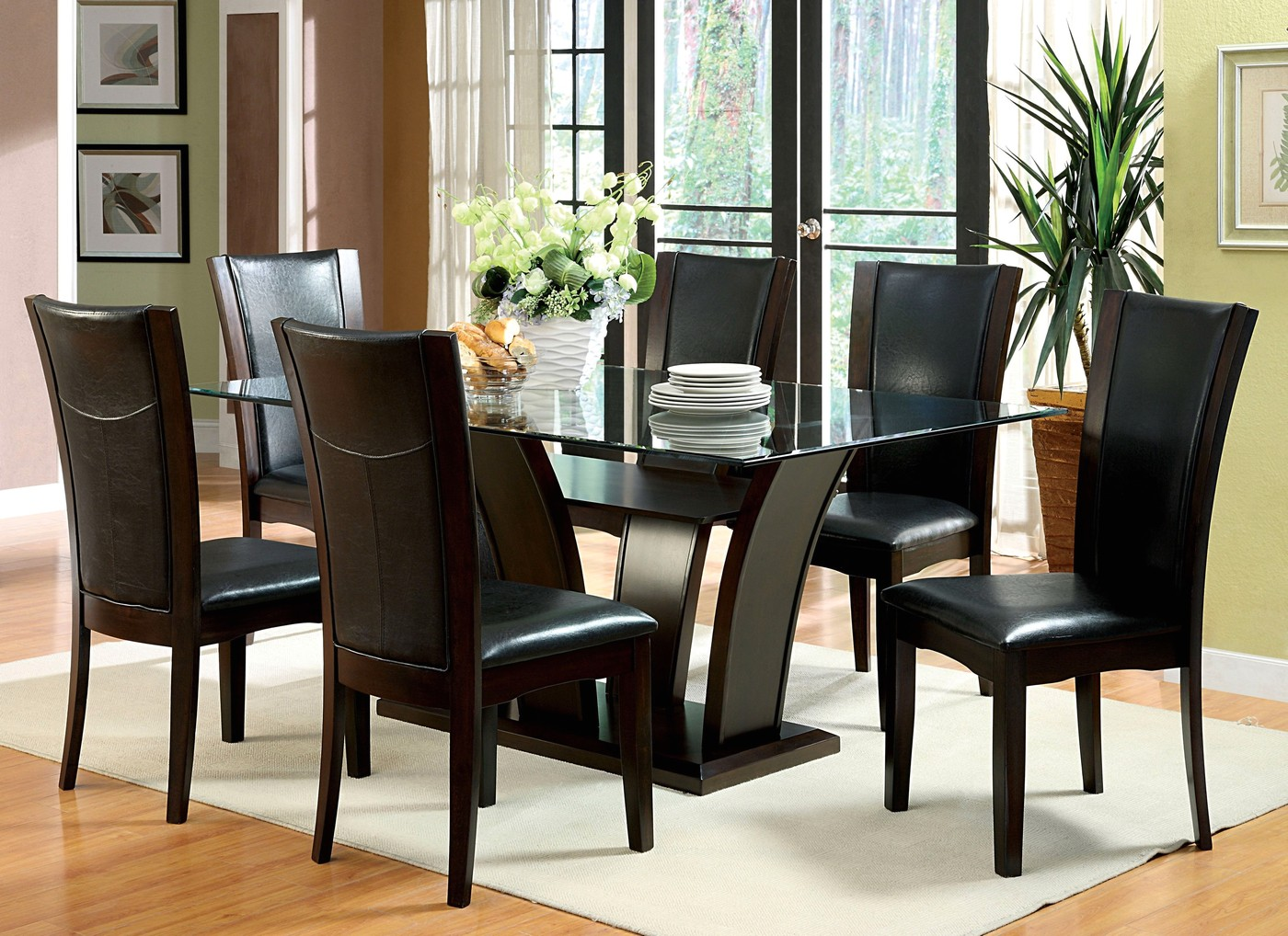 Manhattan i contemporary dark cherry casual dining set for Informal dining chairs
