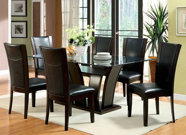 Manhattan I Contemporary Dark Cherry Casual Dining Set with Leatherette Chair
