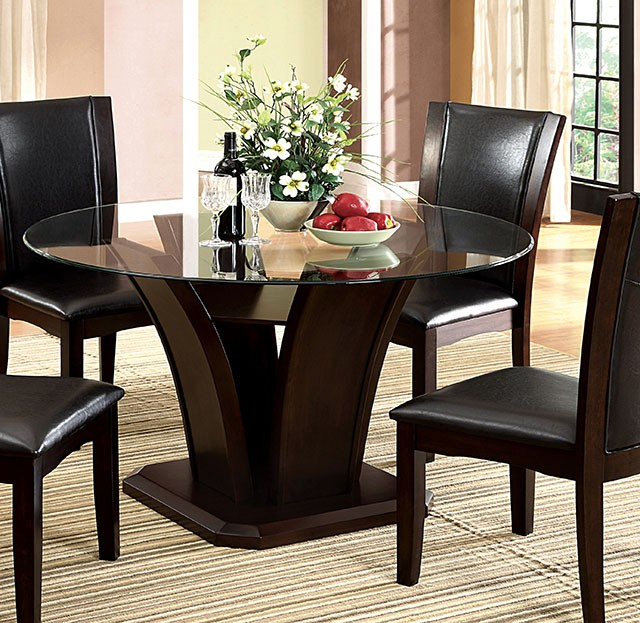 Manhattan II Contemporary Dark Cherry Casual Dining Set with Leatherette Chairs