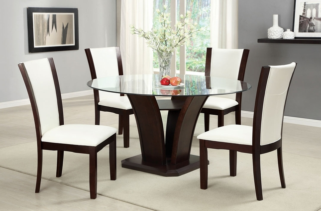 Manhattan II Contemporary Dark Cherry & White Casual Dining Set with Leatherette Chairs