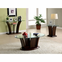 Manhattan IV Contemporary Dark Cherry Accent Tables Set with Open Shelf