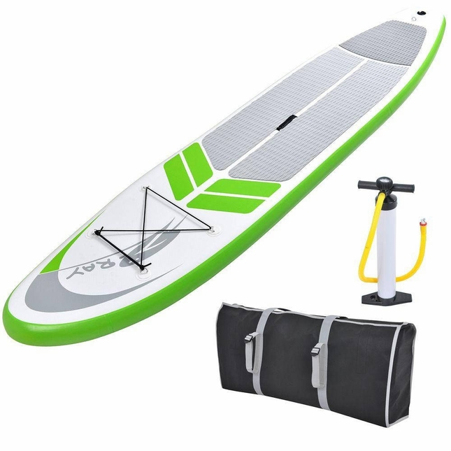 Manta Ray Inflatable 12 Foot SUP Stand Up Paddleboard with Paddle, Pump, Bag