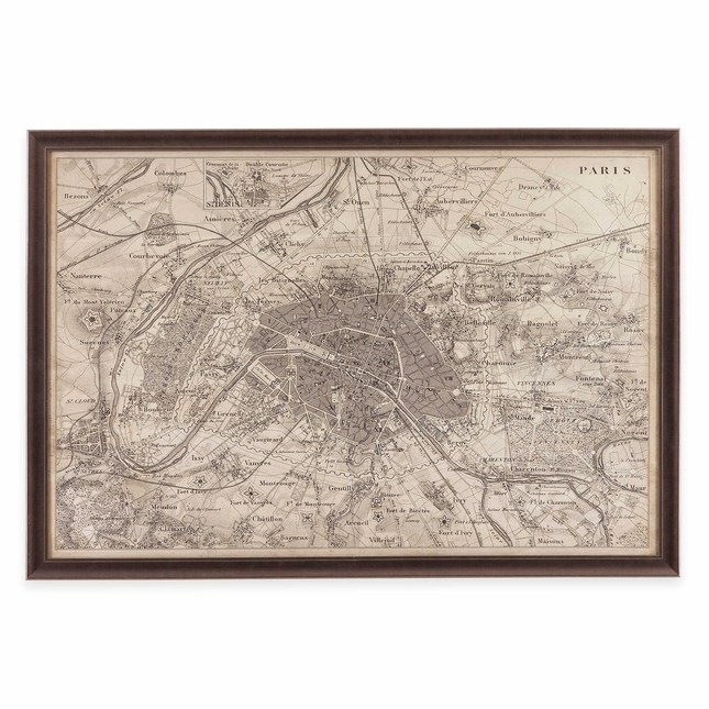 Map of Paris Framed Print Artwork 9900-256EC