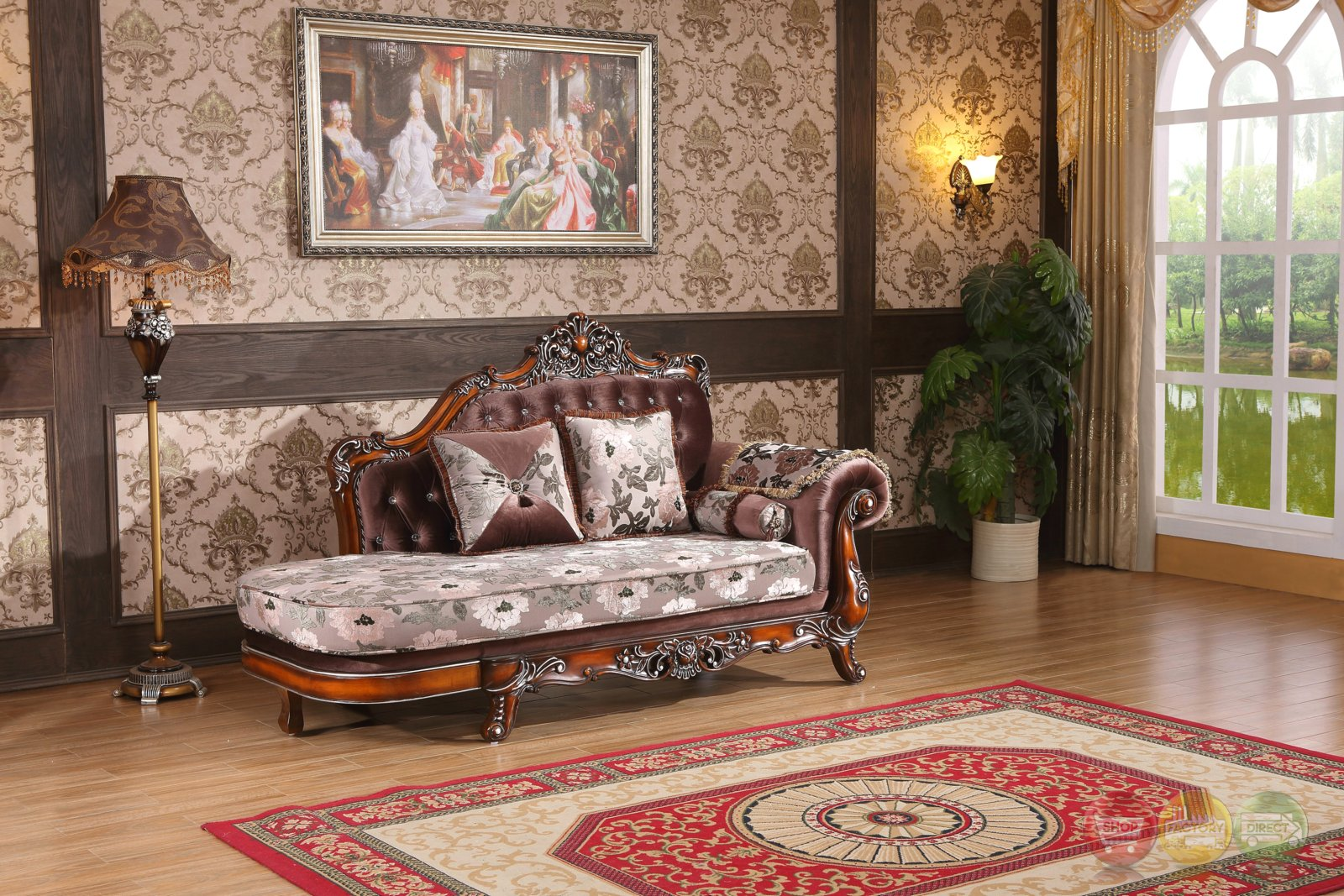 marbella victorian rose chaise with crystal and silver accents. Black Bedroom Furniture Sets. Home Design Ideas