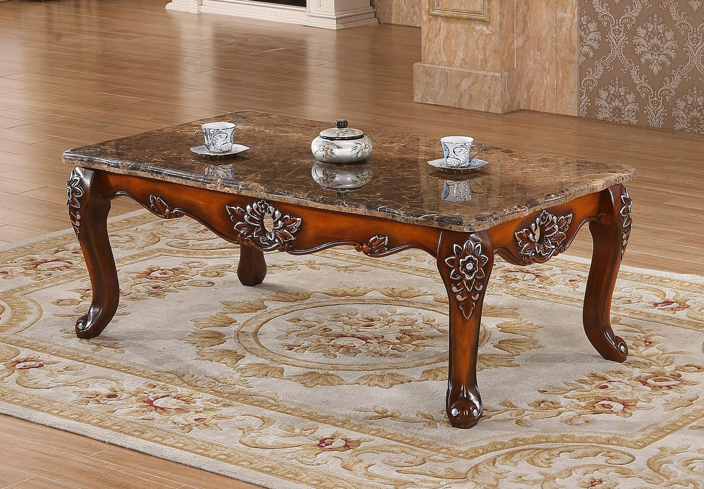 Marbella victorian rose marble coffee table with silver for Marble and silver coffee table