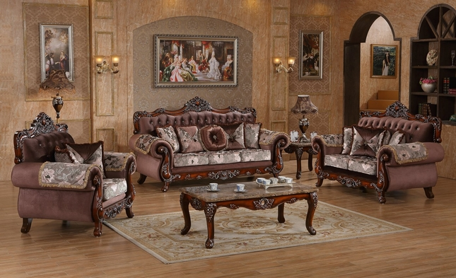Marbella Victorian Rose Sofa & Loveseat Set With Crystal And Silver Accents