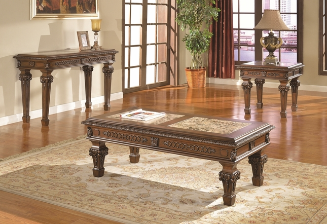 Marble top cocktail end tables traditional living room 3 - Three piece living room table set ...