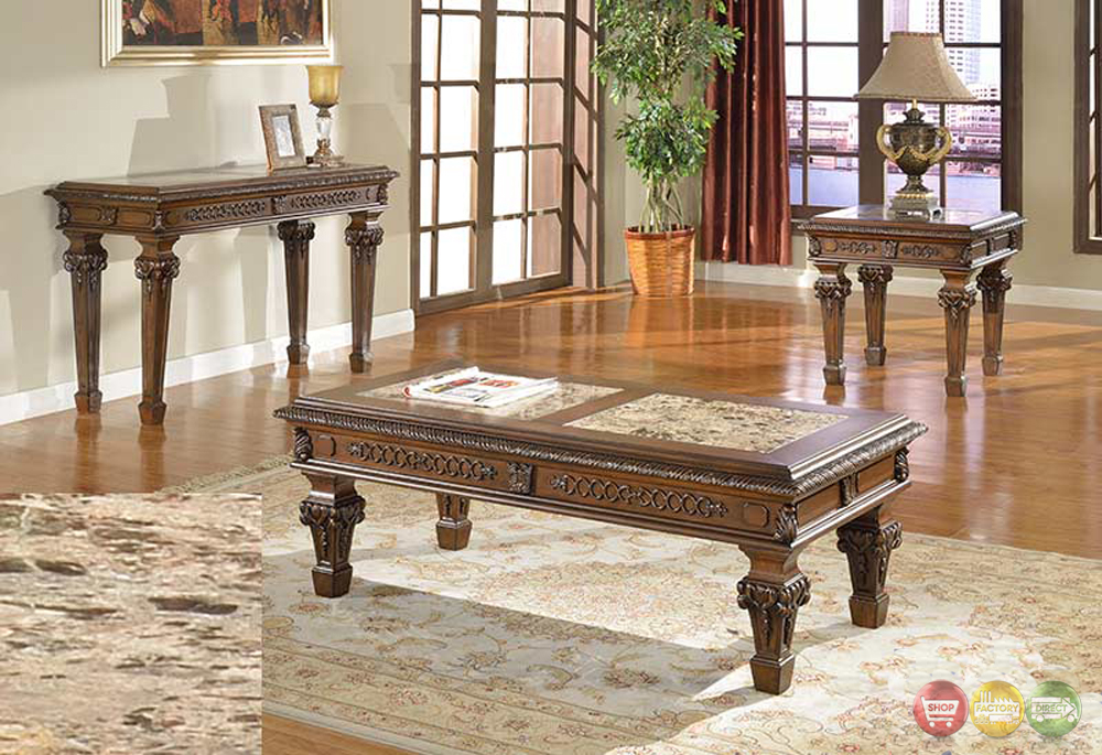 Marble Top Cocktail End Tables Traditional Living Room 3 Piece Table Set