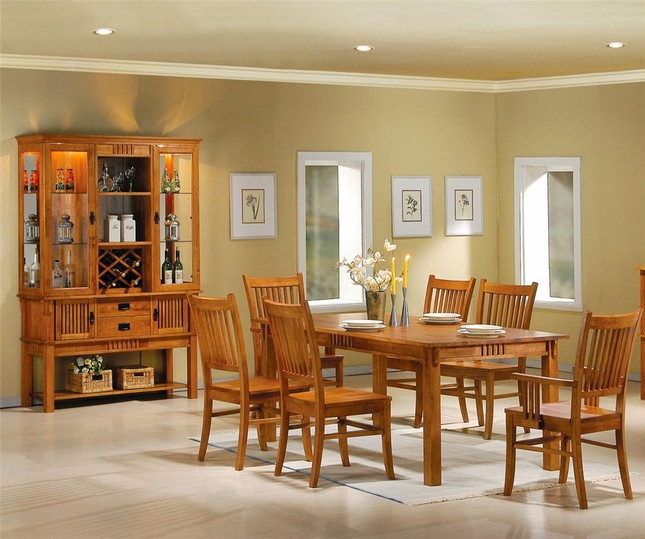 Marbrisa 7 Piece Dining Room Set Table & Chairs Light Honey Finish 100621