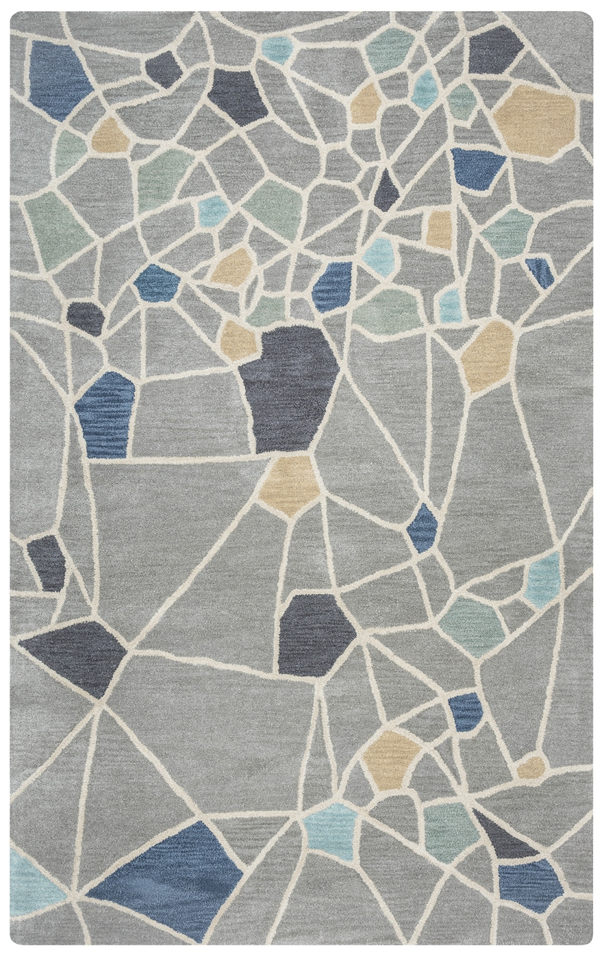 Marianna Fields Abstract Cracks Wool Area Rug In Grey Blue