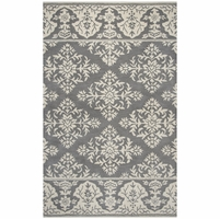 """Marianna Fields Wool Runner Area Rug 2'6""""x 8' Grey White Medallion With Damask"""