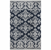 """Marianna Fields Wool Runner Area Rug 2'6""""x 8' Navy Blue Ivory White With Damask"""