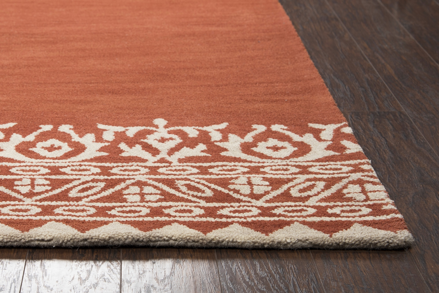 Marianna Fields Floral Motif Border Wool Area Rug In Brown