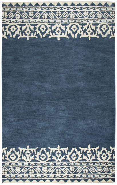 Marianna Fields Fl Motif Border Wool Area Rug In Navy