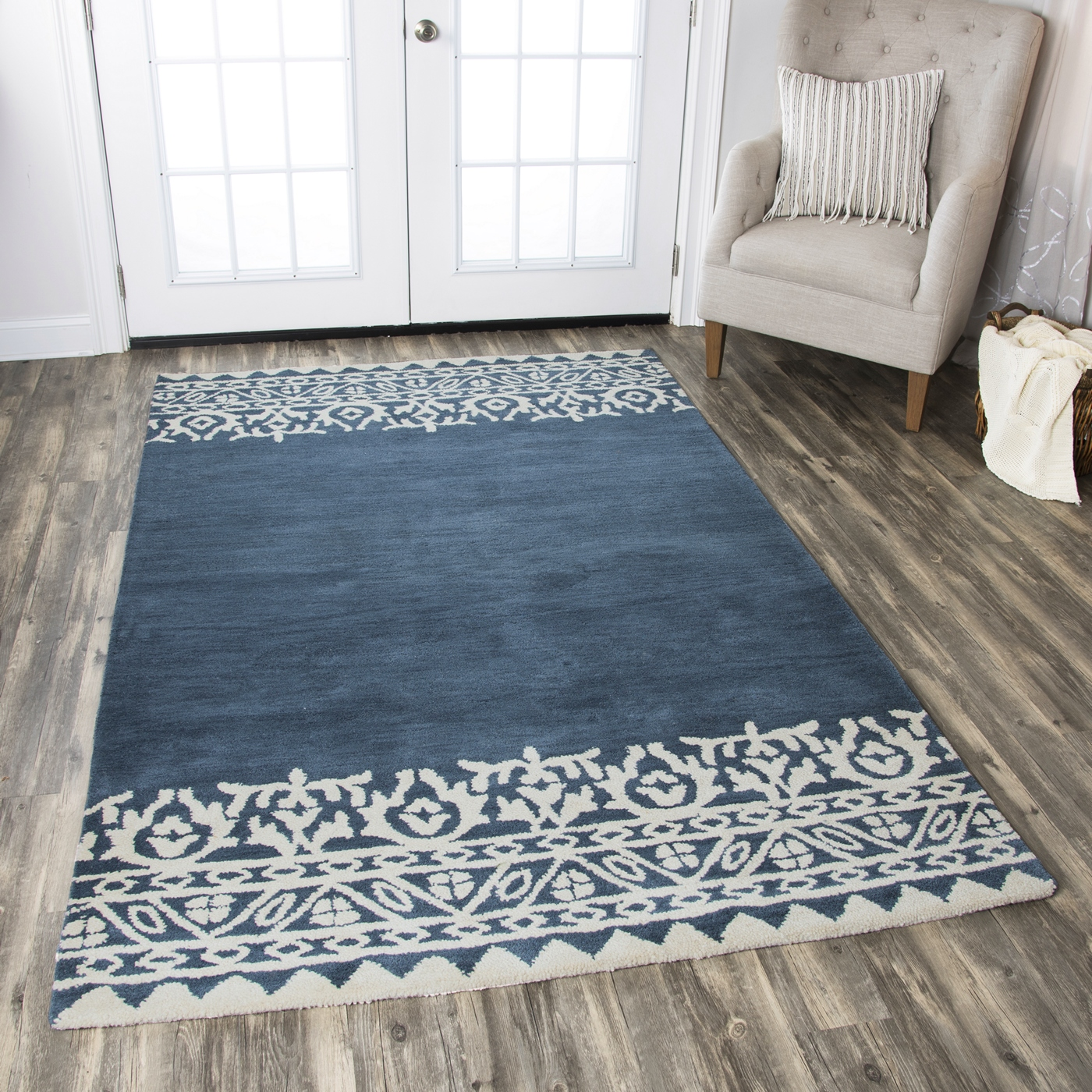 Marianna Fields Floral Motif Border Wool Area Rug In Navy