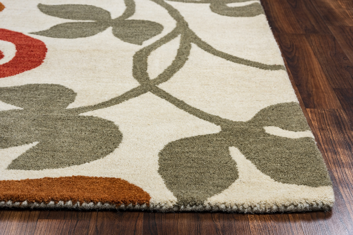 Marianna Fields Floral Wool Area Rug In Grey Blue Brown