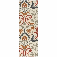 """Home Marianna Fields Wool Runner Area Rug 2'6""""x 8'White Grey Blue Rust Brown Red"""