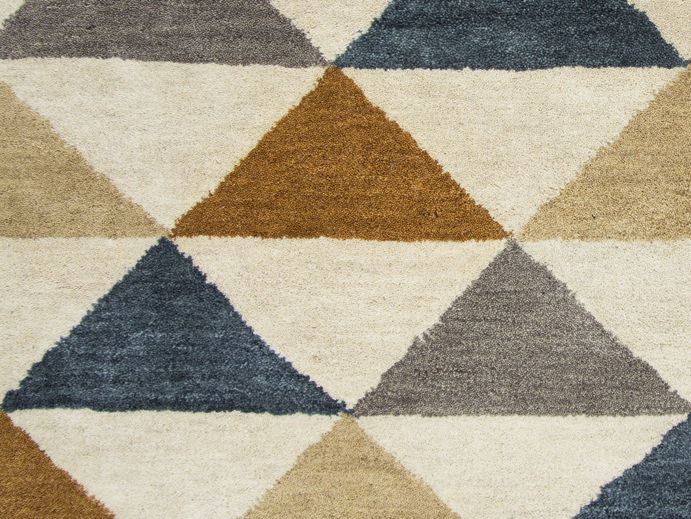 Grey Tan And Brown Area Rug: Marianna Fields Triangle Pattern Wool Area Rug In Blue