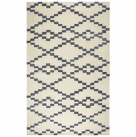 """Rizzy Marianna Fields Wool Runner Area Rug 2'6""""x 8'Ivory White Grey Black/Hearts"""