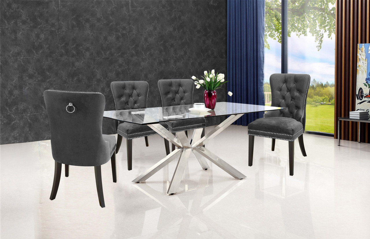 Grey Velvet High Back Dining Chairs: Set Of 2, Marielle Plush Grey Velvet Dining Chair W/Button