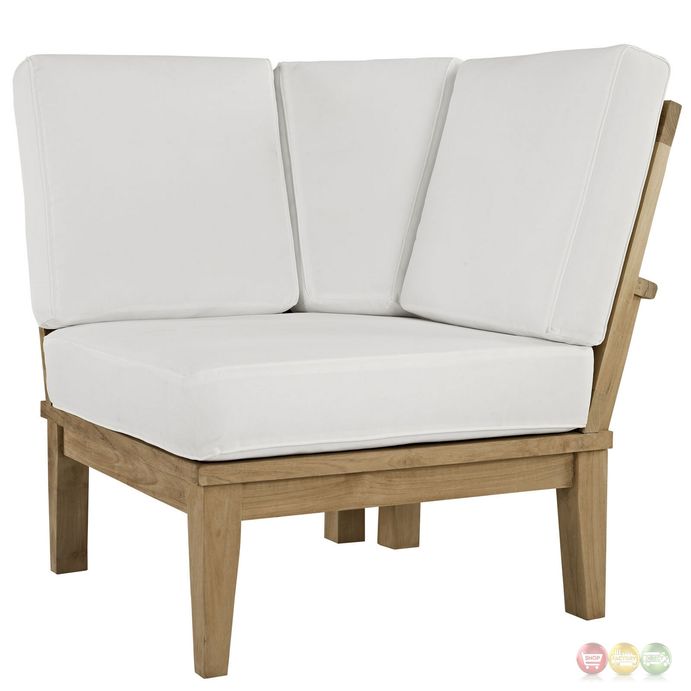 Marina natural teak wood outdoor patio sofa w upholstered for Outdoor sofa