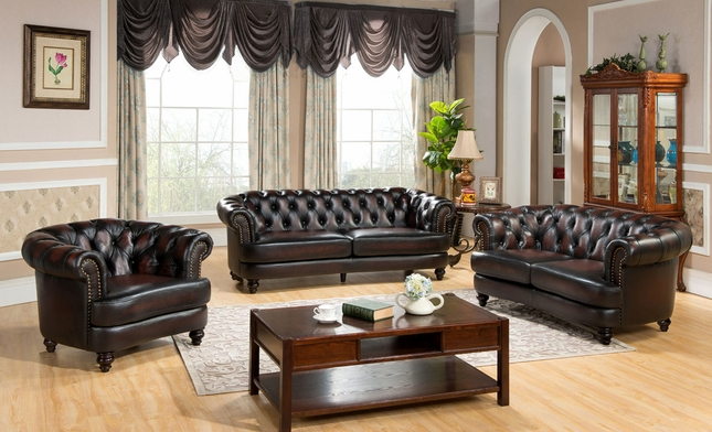 Mario 3pc Top Grain Leather Chesterfield Sofa Set Rich Burgundy Finish