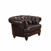 Mario Burgundy Top Grain Leather Chesterfield Armchair With Antique Finish