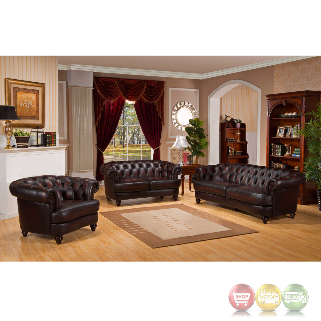 mario 3pc top grain leather chesterfield sofa set rich. Black Bedroom Furniture Sets. Home Design Ideas