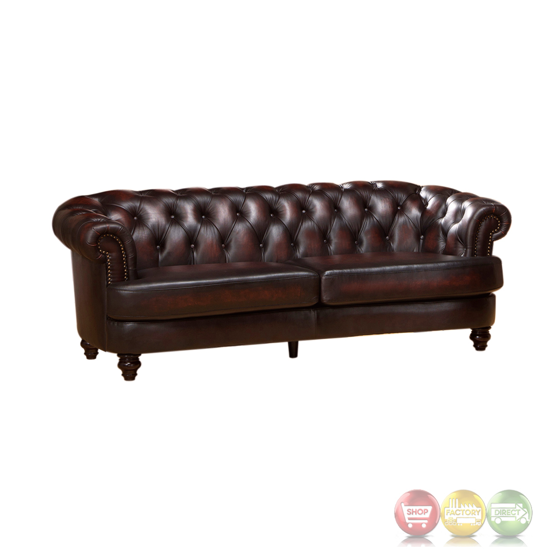 mario 3pc top grain leather chesterfield sofa set rich burgundy finish. Black Bedroom Furniture Sets. Home Design Ideas