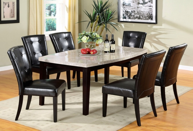 Marion I Contemporary Espresso Casual Dining Set with Leatherette Parson Chair